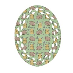 Cute Hamster Pattern Oval Filigree Ornament (two Sides)