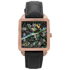 Computer Ram Tech Rose Gold Leather Watch