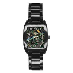 Computer Ram Tech Stainless Steel Barrel Watch