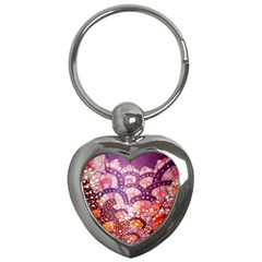 Colorful Art Traditional Batik Pattern Key Chains (heart)