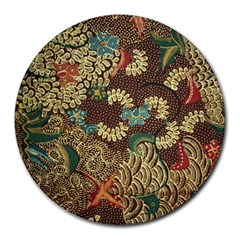 Colorful The Beautiful Of Art Indonesian Batik Pattern Round Mousepads