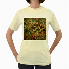 Colorful The Beautiful Of Art Indonesian Batik Pattern Women s Yellow T Shirt