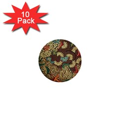 Colorful The Beautiful Of Art Indonesian Batik Pattern 1  Mini Buttons (10 Pack)