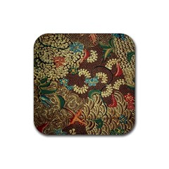 Colorful The Beautiful Of Art Indonesian Batik Pattern Rubber Square Coaster (4 Pack)