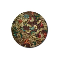 Colorful The Beautiful Of Art Indonesian Batik Pattern Rubber Round Coaster (4 Pack)
