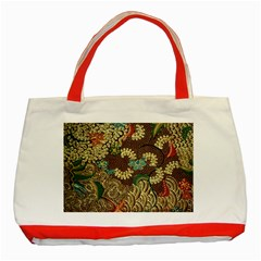 Colorful The Beautiful Of Art Indonesian Batik Pattern Classic Tote Bag (red)