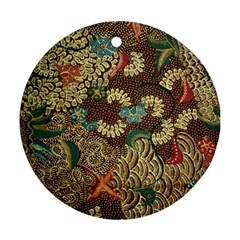 Colorful The Beautiful Of Art Indonesian Batik Pattern Round Ornament (two Sides)