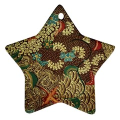 Colorful The Beautiful Of Art Indonesian Batik Pattern Star Ornament (two Sides)