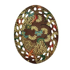 Colorful The Beautiful Of Art Indonesian Batik Pattern Oval Filigree Ornament (two Sides)