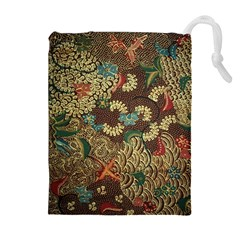 Colorful The Beautiful Of Art Indonesian Batik Pattern Drawstring Pouches (extra Large)