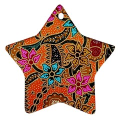 Colorful The Beautiful Of Art Indonesian Batik Pattern(1) Star Ornament (two Sides)