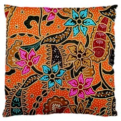 Colorful The Beautiful Of Art Indonesian Batik Pattern(1) Large Cushion Case (two Sides)