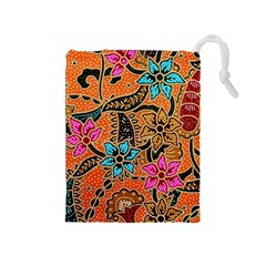 Colorful The Beautiful Of Art Indonesian Batik Pattern(1) Drawstring Pouches (medium)