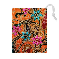 Colorful The Beautiful Of Art Indonesian Batik Pattern(1) Drawstring Pouches (extra Large)