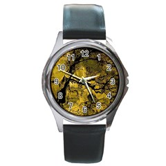 Colorful The Beautiful Of Traditional Art Indonesian Batik Pattern Round Metal Watch