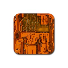 Circuit Board Pattern Rubber Square Coaster (4 Pack)