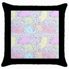 Cat Animal Pet Pattern Throw Pillow Case (black)