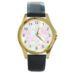 Cat Animal Pet Pattern Round Gold Metal Watch