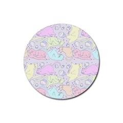 Cat Animal Pet Pattern Rubber Round Coaster (4 Pack)