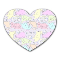 Cat Animal Pet Pattern Heart Mousepads