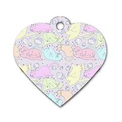 Cat Animal Pet Pattern Dog Tag Heart (two Sides)