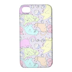 Cat Animal Pet Pattern Apple Iphone 4/4s Hardshell Case With Stand
