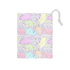 Cat Animal Pet Pattern Drawstring Pouches (medium)