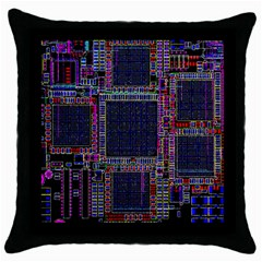Cad Technology Circuit Board Layout Pattern Throw Pillow Case (black)