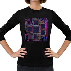 Cad Technology Circuit Board Layout Pattern Women s Long Sleeve Dark T Shirts
