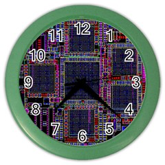 Cad Technology Circuit Board Layout Pattern Color Wall Clocks