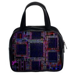 Cad Technology Circuit Board Layout Pattern Classic Handbags (2 Sides)