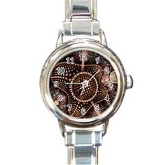 Brown Fractal Balls And Circles Round Italian Charm Watch