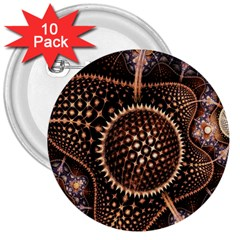 Brown Fractal Balls And Circles 3  Buttons (10 Pack)