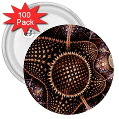 Brown Fractal Balls And Circles 3  Buttons (100 Pack)