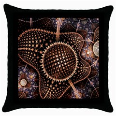 Brown Fractal Balls And Circles Throw Pillow Case (black)