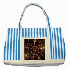 Brown Fractal Balls And Circles Striped Blue Tote Bag