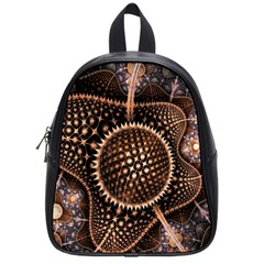 Brown Fractal Balls And Circles School Bags (small)