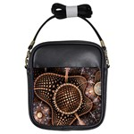 Brown Fractal Balls And Circles Girls Sling Bags Front