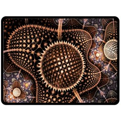 Brown Fractal Balls And Circles Fleece Blanket (large)