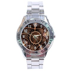 Brown Fractal Balls And Circles Stainless Steel Analogue Watch