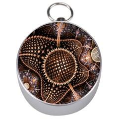 Brown Fractal Balls And Circles Silver Compasses