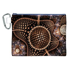 Brown Fractal Balls And Circles Canvas Cosmetic Bag (xxl)
