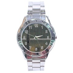 Building Pattern Stainless Steel Analogue Watch