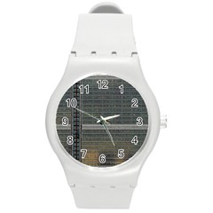 Building Pattern Round Plastic Sport Watch (m)