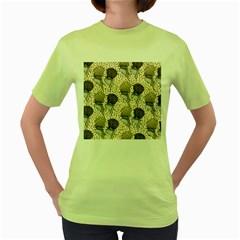 Bouffant Birds Women s Green T Shirt