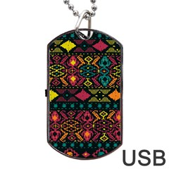 Bohemian Patterns Tribal Dog Tag Usb Flash (two Sides)