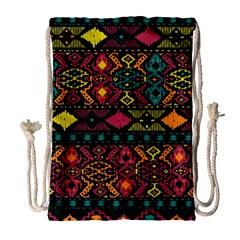Bohemian Patterns Tribal Drawstring Bag (large)