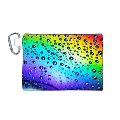 Rainbow Droplet Canvas Cosmetic Bag (medium)