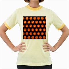Funny Halloween   Pumpkin Pattern Women s Fitted Ringer T Shirts