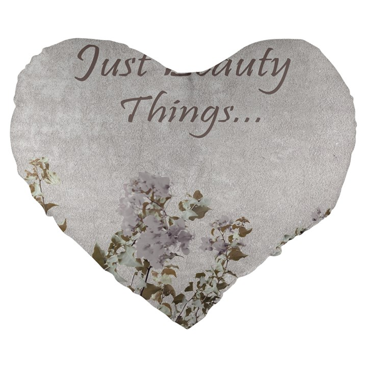 Shabby Chic Style Motivational Quote Large 19  Premium Flano Heart Shape Cushions
